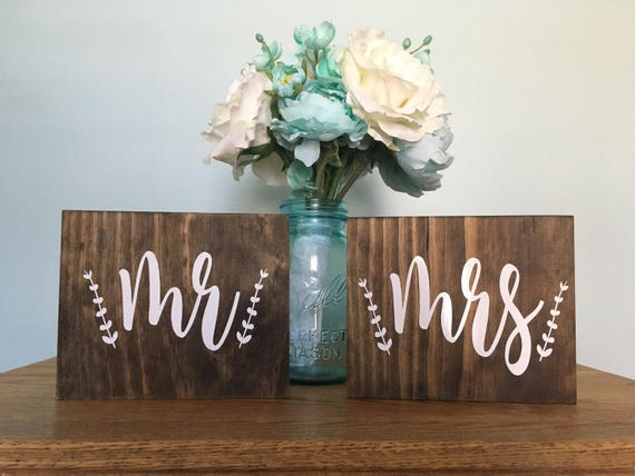Mr and Mrs Signs - rustic wedding decor - wedding signs - mr and mrs - Chair Signs - stained signs - wedding decor - Rustic Chic - Set 2