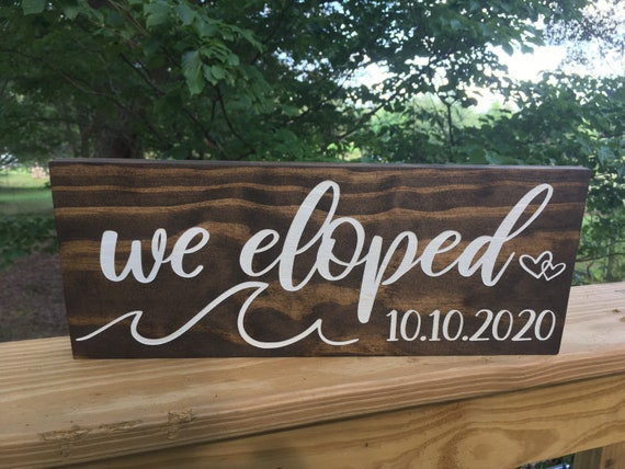 Ocean beach We Eloped Sign - We Eloped Wood Wedding Signs - Elopement Announcement Sign - Wedding Date Sign - Wedding Photo Prop - Elopement