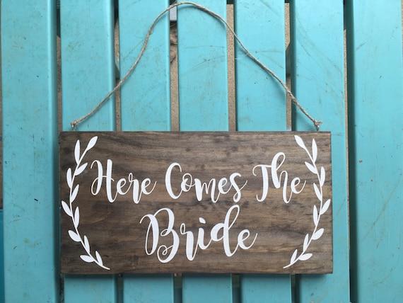 LASER ENGRAVED Here comes the Bride sign - Rustic Wedding Sign - Wood wedding sign - Wedding Decor - flower girl sign - ring bearer sign
