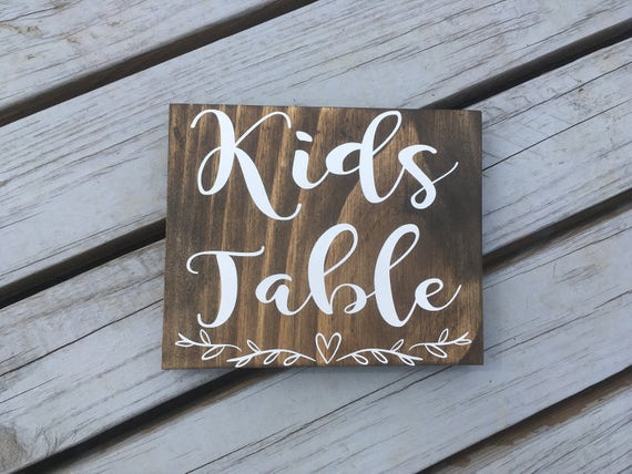 Kids Table Wedding Sign, Children Table Sign, the cools kids place sign, barn wedding, rustic chic wedding, wooden wedding sign, wood sign