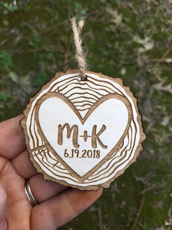 Mountain personalized Christmas ornament - wood slice lasercut ornament - mr mrs ornament - rustic wedding Christmas ornament -Tree Ornament