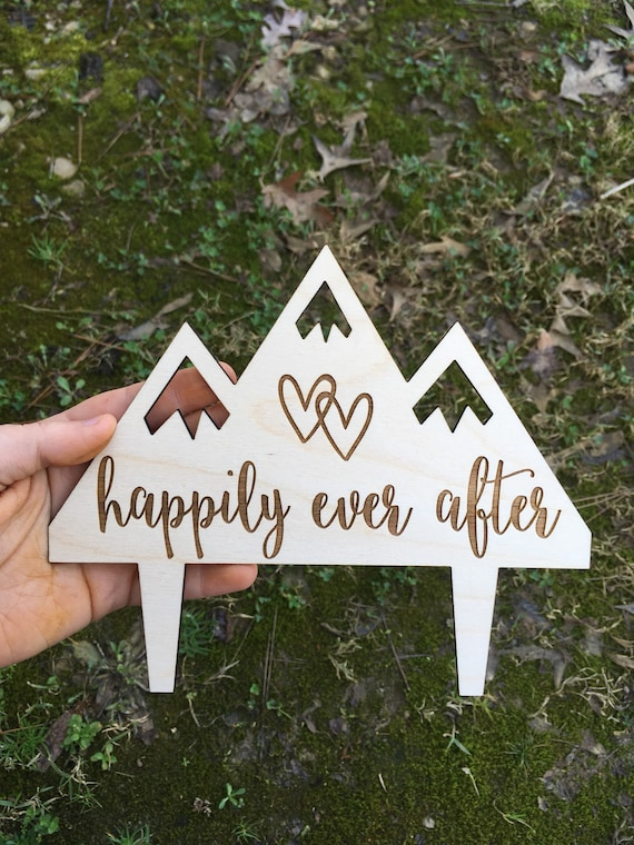 Happily ever after cake topper - Let The Adventure Begin Wedding Cake Topper - Wedding Cake Topper - Wooden Wedding Cake Topper - Rustic