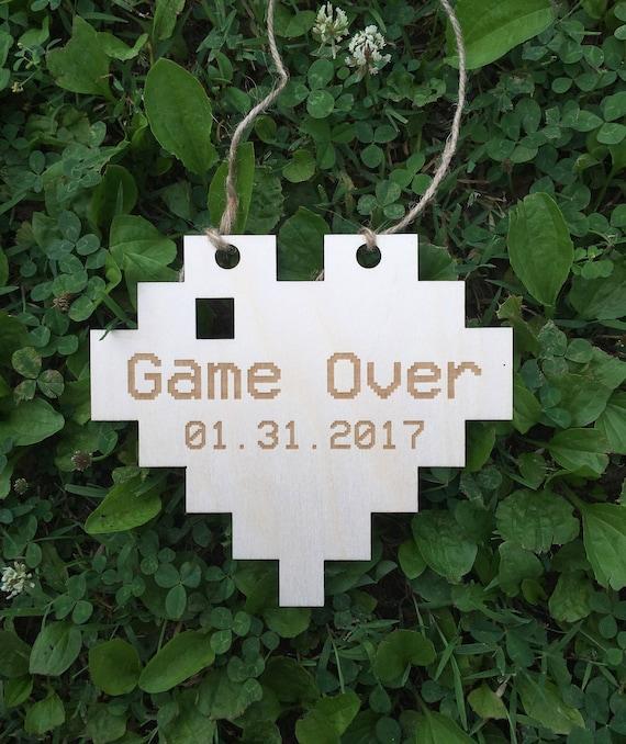 LASER ENGRAVED engagement prop pixel heart wedding date sign, Gamer wedding, nerd wedding, geek wedding, video game wedding, game over sign