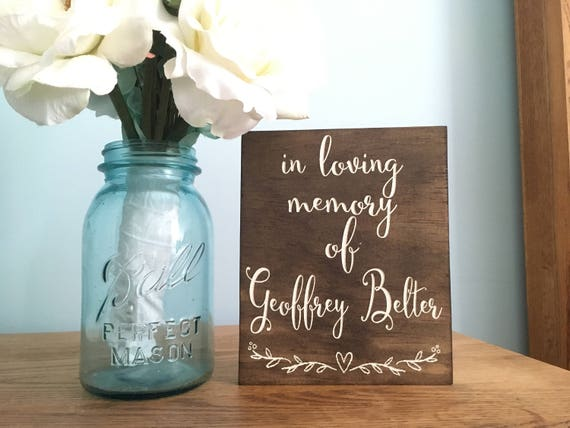 Laser engraved In Loving Memory Sign - Photo table sign - Loved Ones sign - Remembrance Rustic Wedding Sign - Wooden - forever in our hearts