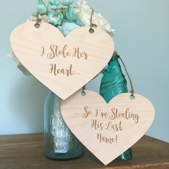 LASER ENGRAVED Rustic Engagement Photos Photo - Signs Rustic Hearts - I Stole Her Heart - Engagement props - So i'm stealing his last name
