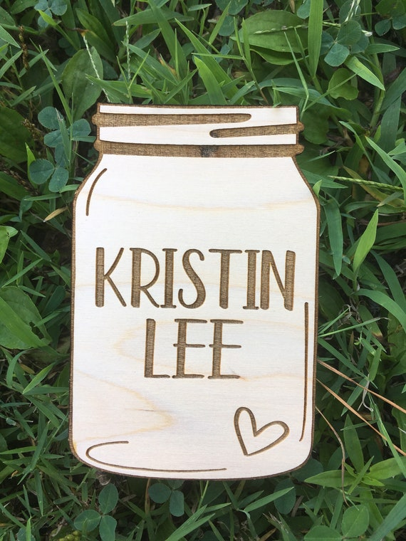 Mason Jar Birth Announcement Sign - engraved Newborn Photo Prop - hospital Announcement Sign - Baby Name Wood - Baby Milestone - birth stats