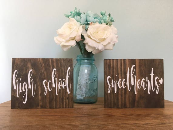 High School Sweethearts Chair Signs, Rustic Wedding Signs, Photo Prop Signs, Sweetheart table sign, mr and mrs signs, bride and groom signs