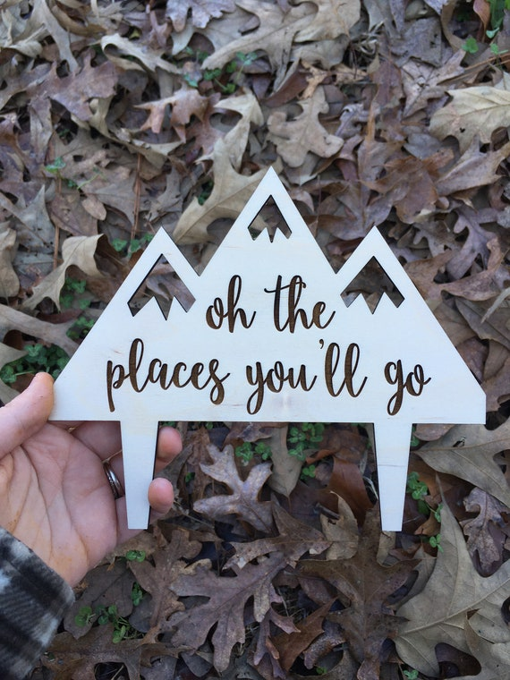 Oh The Places You'll Go cake topper - Let The Adventure Begin Wedding Cake Topper - Wedding Cake Topper - Wooden Wedding Cake Topper