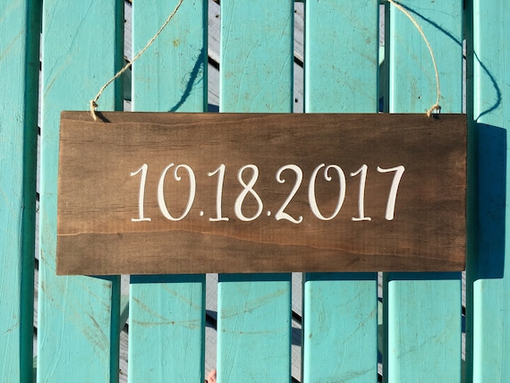 LASER ENGRAVED Wedding Save The Date Sign, Hanging wedding date sign, wooden rustic wedding date, Engagement Photo Prop Sign, personalized