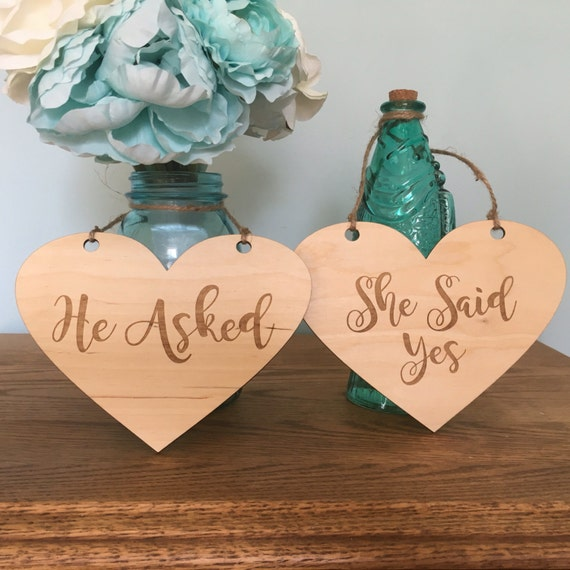 He asked She said yes signs - LASER ENGRAVED Rustic Engagement Photos Photo - Signs Rustic Hearts - Engagement props - Heart Wedding Sign
