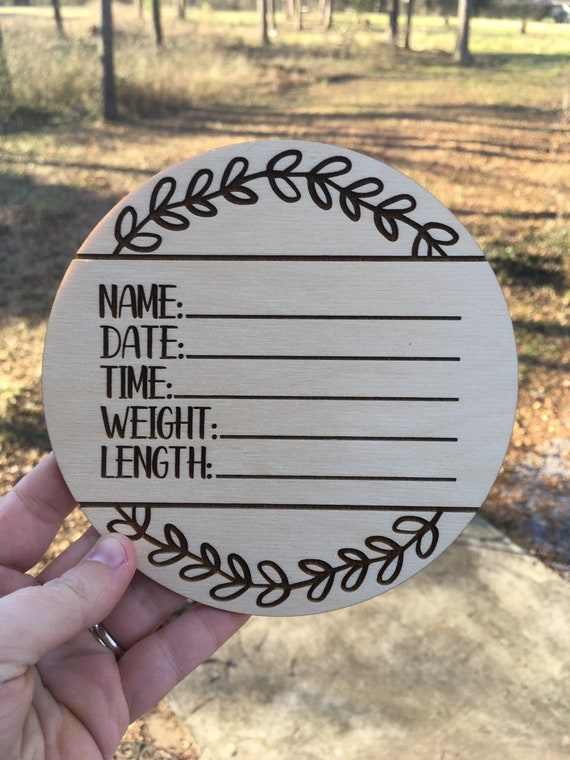 Wreath Birth Announcement Sign - Laser engraved Newborn Photo Prop - Baby Shower Gift - Baby Name Wood - Baby Milestone - birth stats