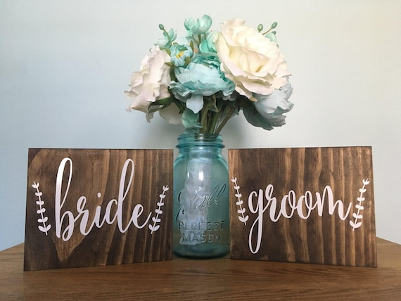 Bride and groom - Mr and Mrs Signs - rustic wedding decor - wedding signs - bride and groom- Chair Signs - stained signs - wedding decor - 2