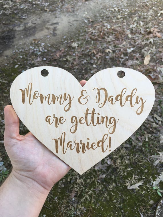 LARGE dog LASER ENGRAVED My humans are getting married dog puppy sign - Dog Sign Engagement Photo Prop - mommy and daddy are getting married