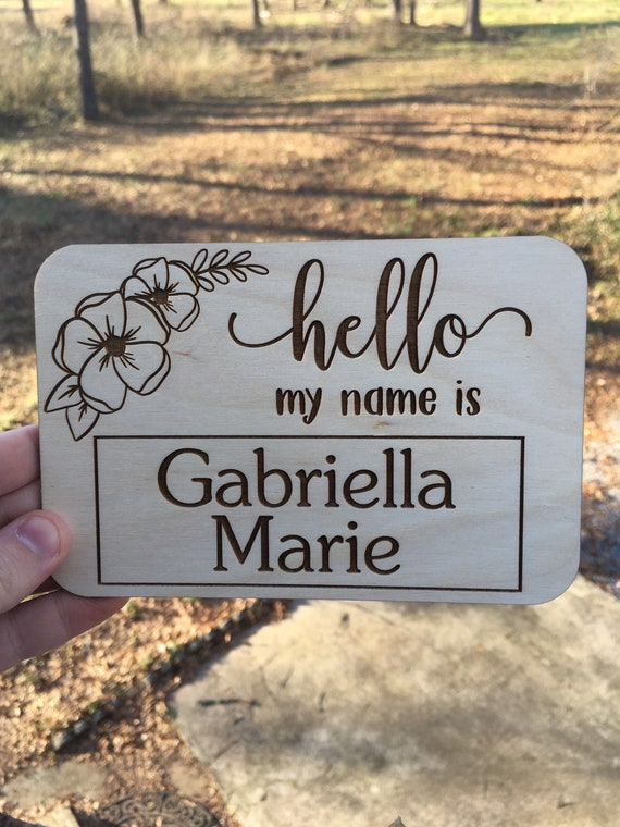 Floral Birth Announcement Sign - Laser engraved Newborn Photo Prop - Baby Shower Gift - Baby Name Wood - Baby Milestone - birth stats