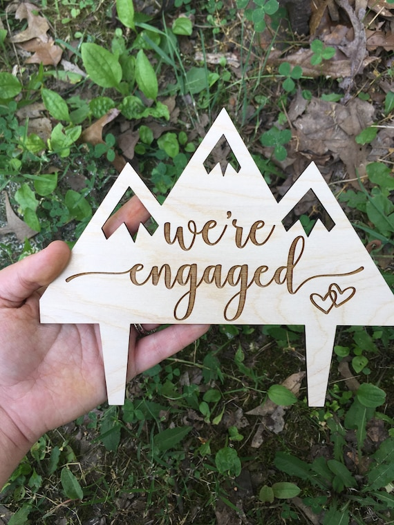 We're Engaged mountains cake topper - Let The Adventure Begin Wedding Cake Topper - Wooden Wedding Cake Topper - engagement party topper
