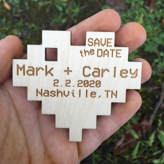 Wooden Save The Date Magnets - Personalized Save the Date Magnet - Wooden pixel heart Save the Date - Wood gamer wedding video game wedding