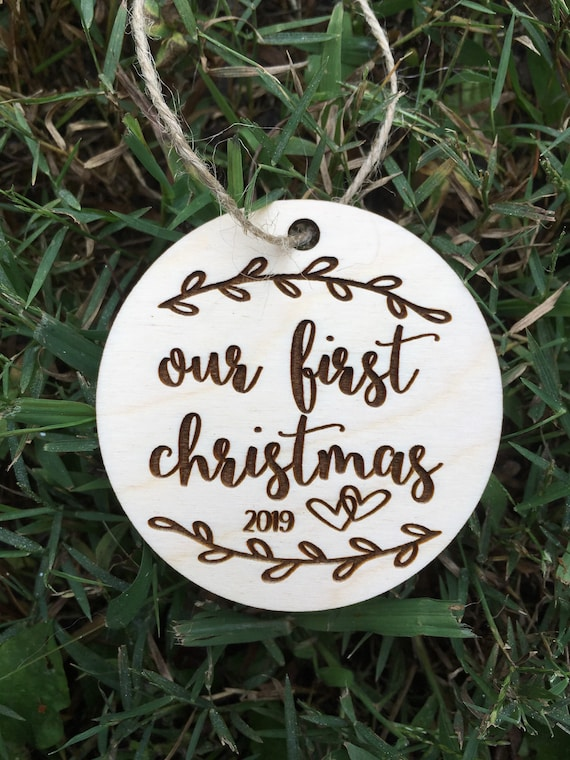 Personalized Our First Christmas Wooden Christmas Ornament - wedding ornament- Wood Christmas ornament - Couple gift - engagement gift