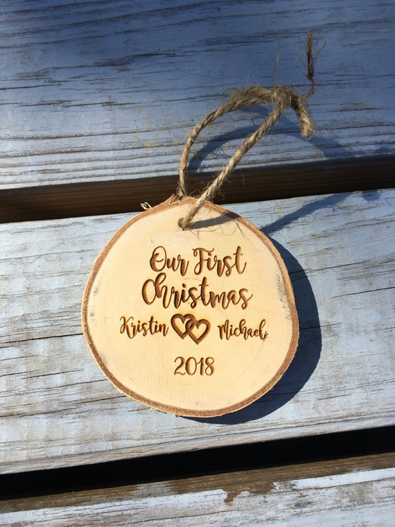 personalized Christmas ornament - bride and groom ornament - mr and mrs ornament - rustic wedding Christmas ornament - wood slice live edged