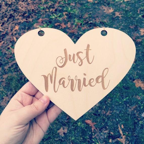 LASER ENGRAVED Just Married Wedding Heart Sign, Wooden Ceremony Sign, Ring Bearer Sign, Flower Girl Sign, Son sign, Daughter sign wedding
