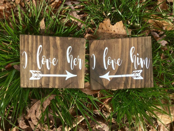 I Love Her I Love Him Wedding Table Signs, Chair Signs, Rustic table decor, Wooden Hanging Chair Sign, Wooden Table Sign, Arrow wedding sign