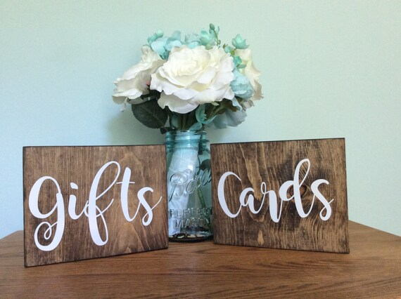 "Gift and cards Wedding Signs - Rustic Themed Wedding Signs - Rustic Hand Painted Wood Wedding Sign ""Cards & Gifts"" - Wedding Decoration"