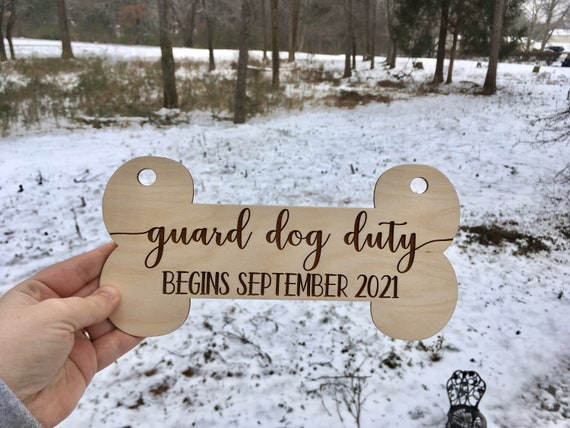 Personalized Guard Dog Duty, Pet Signs for Pregnancy Announcement, Dog Birth Announcement, Mommy to Be Dog Baby Announcement, Dog Maternity