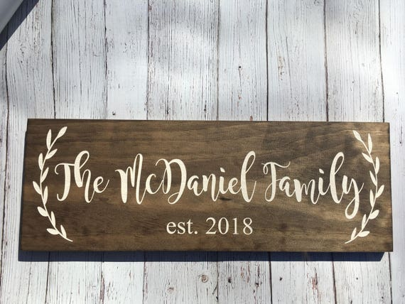 LASER ENGRAVED Rustic Family Sign - Wood Family Established Sign - Wedding Established Signs - Personalized Wedding Gift - Last Name Sign