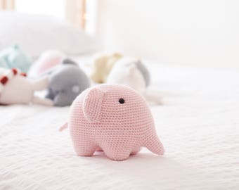 Pink Elephant . Stuffed Animal Plushie Crochet Amigurumi . Decor . Kids Decor . Kids Toys