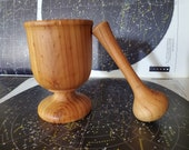 Vintage Turned Wood Mortar and Pestle Unmarked Unsigned Rustic Patina Modern Farmhouse