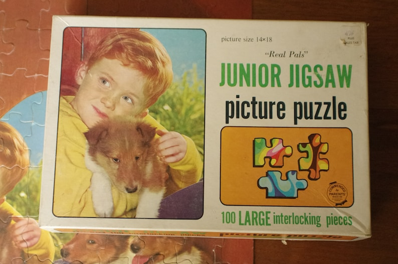Vingage Saalfield Junior Jigsaw Puzzle 100 pieces Real Pals ginger boy with puppy