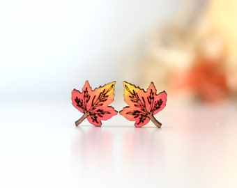 Wood Maple Leaf Earrings - Hand Painted Stud Earrings - Laser Cut Wooden Earrings - Gift for Her - Stainless Steel Posts - Fall Jewelry