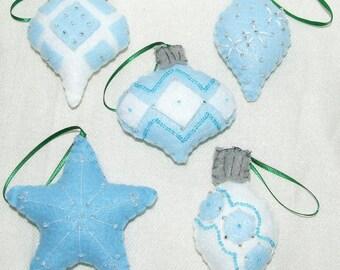 5 Beaded Felt Ornaments,Blue and White