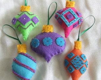 5 Beaded Felt Ornaments, Bright Colors