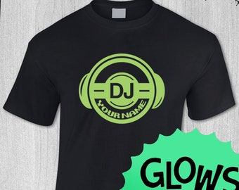 PERSONALISED DJ T SHIRT decks music MC dance disco radio rave club custom vinyl