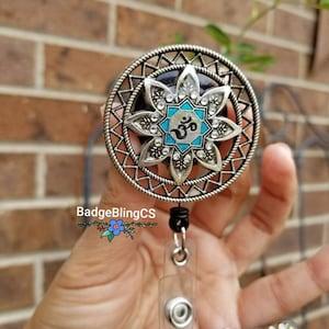 Om badge reel Simple badge id holder clip Lotus flower Ohm NurseLife Pratima atman Brahman Zen yoga bling peace hope just breathe simple