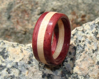 Purpleheart and Maple Ring ~ Layered Solid Wood Ring ~ Men's or Women's ~ Stunning!
