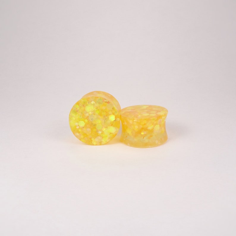 Orange Yellow Glitter Resin Ear Plugs or Tunnels or Teardrops Orange Yellow Glitter Resin Ear Gauges Tunnels Teardrops