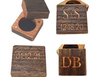 Cufflink Box or Ring Box Magnetic Closure Reclaimed Weathered Red Oak Wood