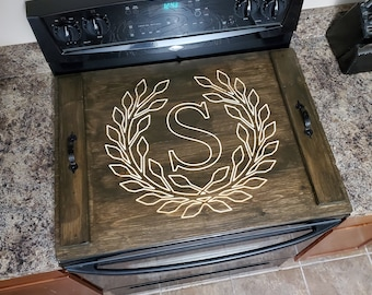 Cooktop Stove Cover with Personalized Engraved Design
