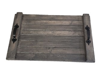 Serving Tray Reclaimed Pine Aged Barrel Stain