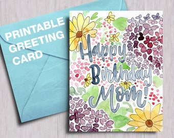 Happy birthday mom etsy happy birthday mom floral watercolor instant download printable card a2 a7 5x7 m4hsunfo