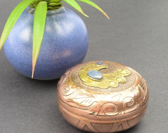 Vintage Copper Trinket Box with Natural Stone (Lapis Lazuli) and Brass Applications