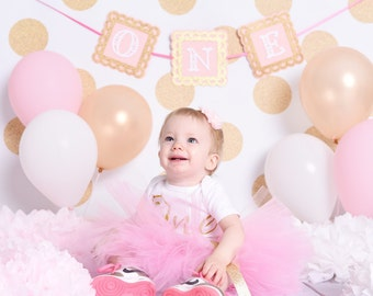 Pink and Gold One Banner/one/First/1st Birthday/Cake Smash/Glitter