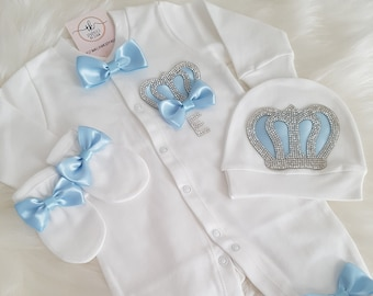 Baby Coming Home Outfit Baby Boy silvery blue Wings personalized Personalized Silver Angel Baby Boy Romper Set Embroidery name baby gift