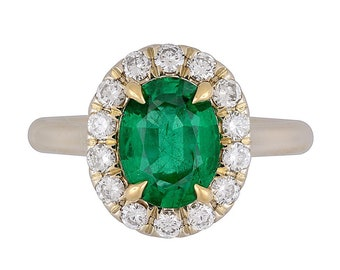 GIA Certified 9X7 mm Natural Emerald w/ Natural Diamonds Halo Engagement Ring | 18K Gold | Fine Jewelry | Free Shipping |