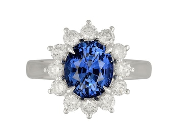 Sapphire Ring | GIA Certified | Lady Diana Inspired Natural Sapphire Halo Ring w/ Natural Diamonds in Platinum | Halo Ring | Free Shipping |