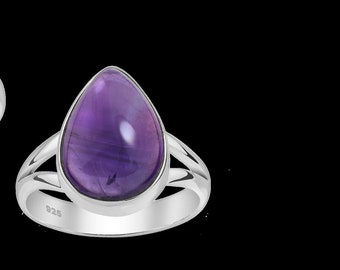 925 Sterling Silver Ring With Amethyst Pear Shape Cabochon | Rhodium Plated Silver Ring | Gift for Women | Gift For Birthday | Free Shipping