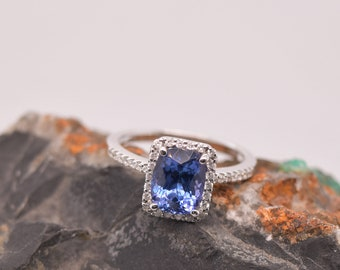 Tanzanite Ring | Halo Ring | 8X6 MM Natural Tanzanite Cushion with Natural Diamonds Ring in 14K White Gold | Fine Jewelry | Free Shipping |