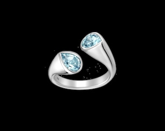 925 Sterling Silver Adjustable Ring With Gemstones | Rhodium Plated Silver Ring | Gift for Women |  Gift For Graduation | Free Shipping |