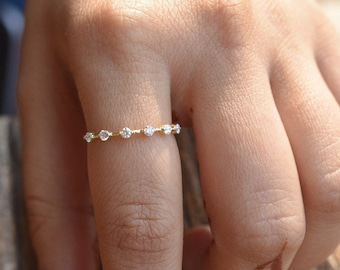 Gold Ring With Diamonds | 14K Yellow Gold Ring | Gold Ring With Diamonds | Anniversary Ring | Birthday Ring | Graduation Gift |Free Shipping